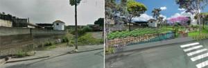 Terreno próximo à Arena Corinthians antes e depois de intervenção do urbanismo ecológico